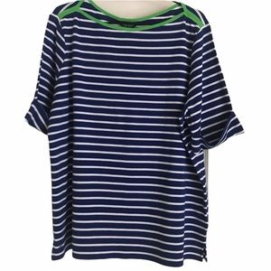 NWT Lauren by RL Navy/White Stripe Boatneck SS Top